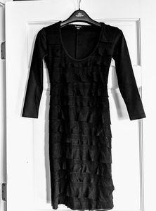 Bebe LBD with tiered embroidery like details EUC